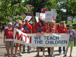Teachers and students march against union-busting and other attacks by the rich June 14 in Madison