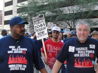 """UAW members & allies march in the """"Jobs, Justice, Peace"""" protest August 2011, Detroit"""