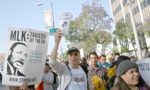 Carlos Montes marching in Los Angeles