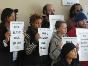 Oct. 28 press conference at Urban Underground with participants opposing AB 286 and SB 207