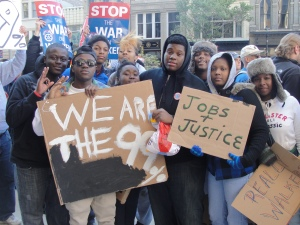 Youth and students march in Milwaukee against banks Oct. 15.