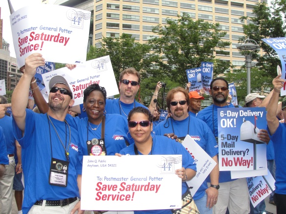 Postal workers and allies march in Detroit August 2010.