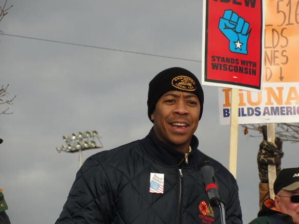 Brother Mahlon Mitchell, president of the Wisconsin Firefighters Association expresses his union's solidarity with Machinists Local 516 and all progressive labor-community-student organizations.