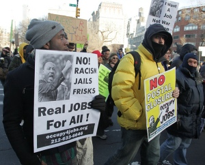 Occupy 4 Jobs Dr. King protest march Jan. 16, NYC.