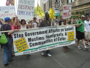 United National Anti-War Coalition (UNAC) delegation at anti-NATO march in Chicago May 20, 2012.