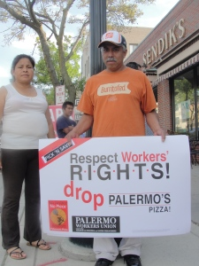 Palermo workers and supporters at a Sept. 12, 2012 informational picket at Sendik's grocery store in Shorewood, WI.