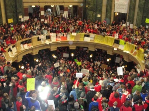 Thousands occupying the state capitol in Madison Feb. 18, 2011.