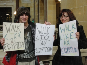 Students join occupation of state capitol in Madison, Wisconsin Feb. 15, 2011.