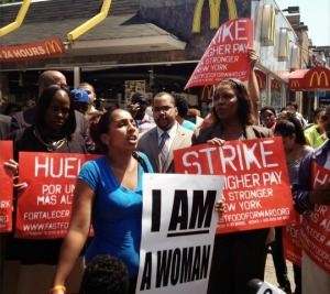 Fast food workers on strike Monday at McDonald's near Yankee Stadium in NYC (Photo via twitter / NELP)