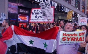 "Syrians and their supporters demand ""Hands Off Syria"" August 29, 2013 in New York City."