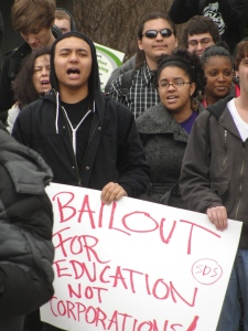 Students, staff, faculty and other members of the campus community protesting the union-busting Act 10 bill and other forms of austerity such as education cuts and tuition increases Feb. 17, 2011 at UW-Milwaukee.