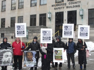 Protesters demand justice for Corey Stingley Jan. 17, 2014 in Milwaukee.