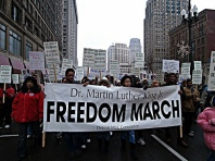 Detroit Martin Luther King Day demonstration through Downtown Detroit on January 15, 2007. The march draws upon the legacy of Dr. King's peace and social justice work. (Photo: Robert Akrawi)., a photo by Pan-African News Wire File Photos on Flickr.