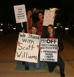 Rockford FIST members at the National Day of Protest Against Police Brutality demonstration tonight.