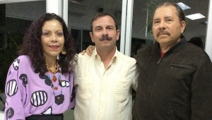 From right to Left: Nicaragua's President Daniel Ortega, Fernando Gonzalez, and Daniel Ortega's wife, Rosario.