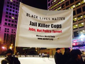 Protest at Red Arrow Park December 23, 2014.