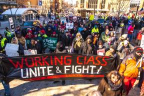 Protesters demanding an end to right-to-work-for-less legislation and other austerity in Madison Feb. 28, 2015 [Photo: Joe Brusky]