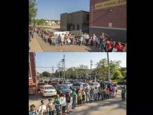 Hundreds defend Auer Elementary in Milwaukee May 27, 2015 [Photo: Joe Brusky]