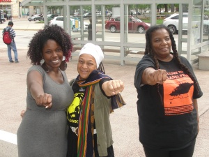 Pam Africa visiting Madison for Young Gifted and Black coalition event June 26, 2015 [Photo: WI BOPM]