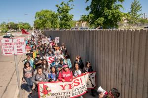A citywide walkout against the undemocratic takeover of Milwaukee Public Schools converges on South Division High School June 1.