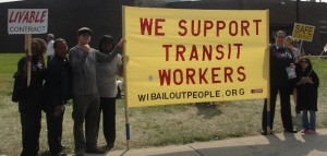 Members of Wisconsin Bail Out The People Movement, members of ATU Local 998 and their families on the work stoppage picket line July 2, 2015 in Milwaukee [Photo: WI BOPM]