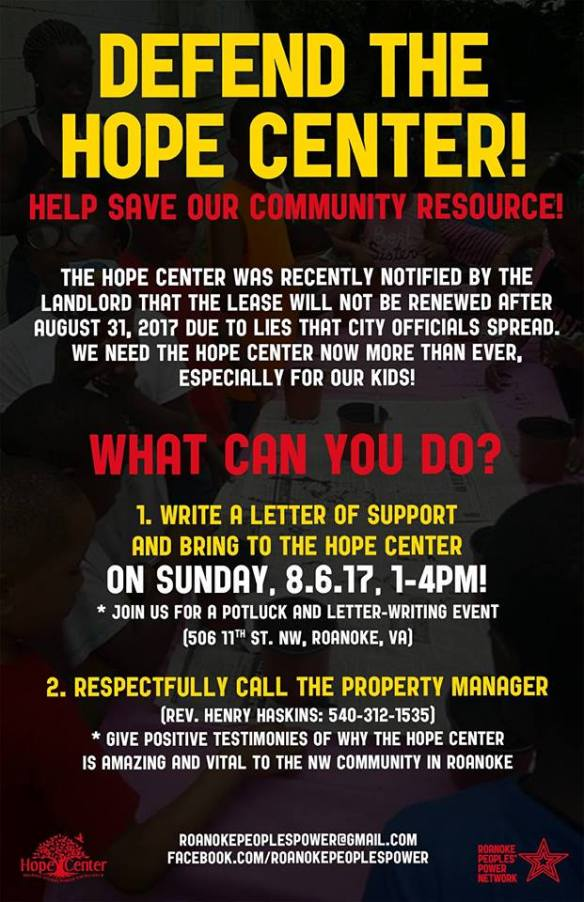 Defend the Hope Center August 2017