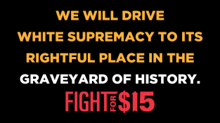 Fight For 15 Graveyard sign