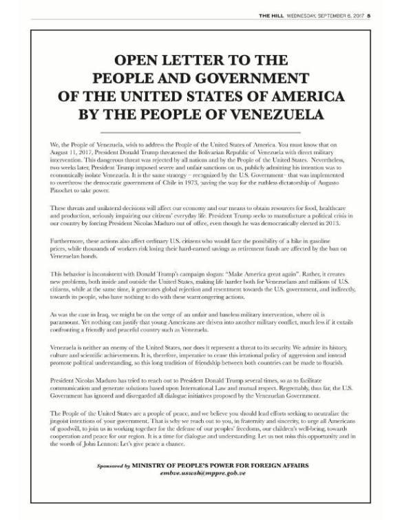 Open Letter Venezuela September 2017