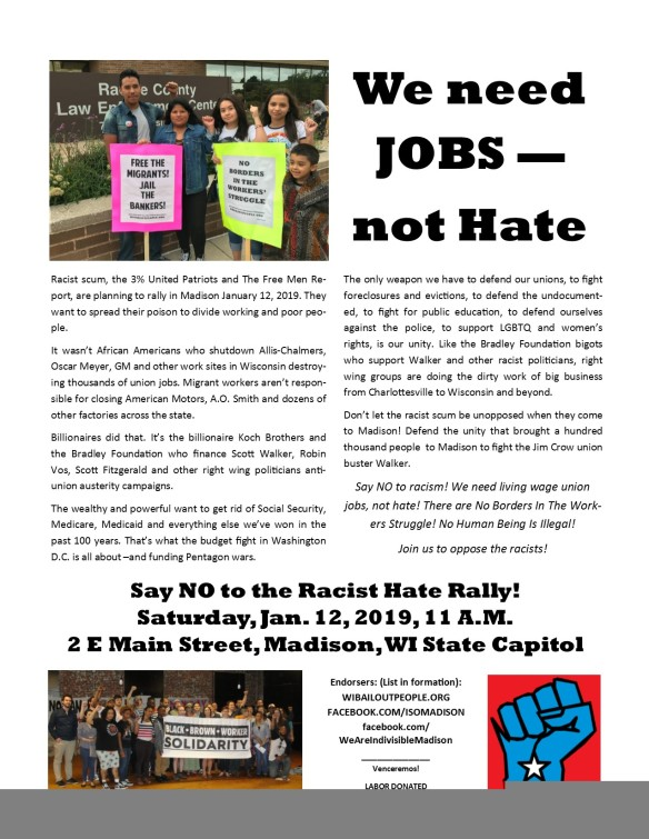 Stop Hate Rally Madison 1 12 19 Leaflet