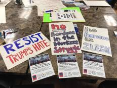 Resist Trump Sign Making Manitowoc 2 16 2019