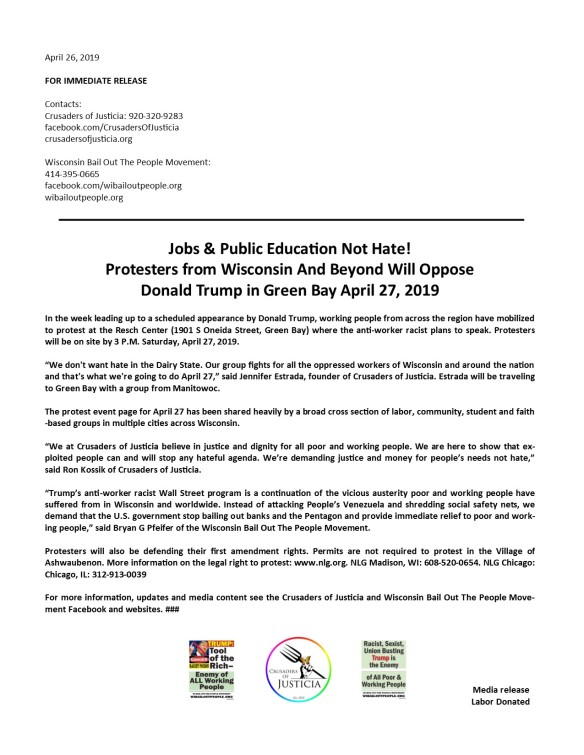 April 27 2019 Media Release Trump Green Bay