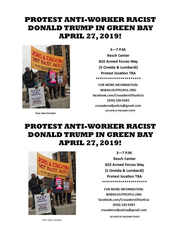 Protest Trump Green Bay WI April 27 2019 Flyer
