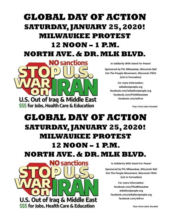 Milwaukee Global Day Of Action Iran Iraq 1 25 2019