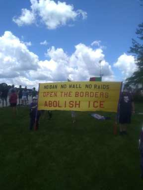 Pewaukee Pence Protest 6 23 20 Anti ICE Banner