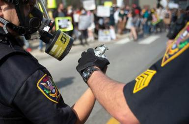 Roanoke Cops Tear Gas Canister May 30 2020