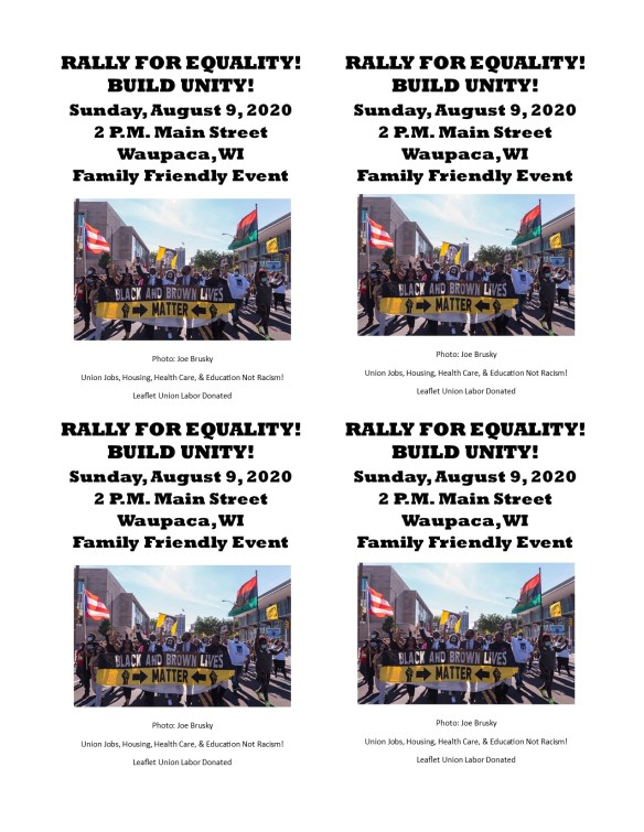 March For Equality Waupaca Quarter Sheet Leaflets August 9 2020