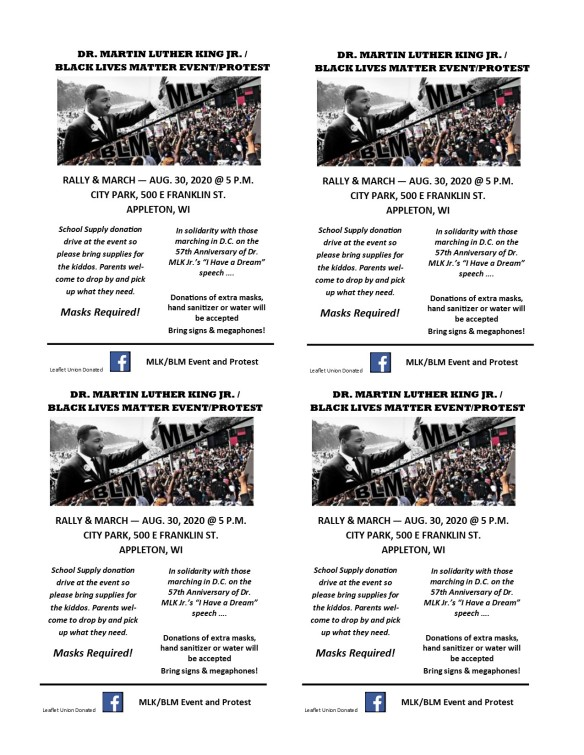 MLK BLM Appleton Quarter Sheet August 30 2020